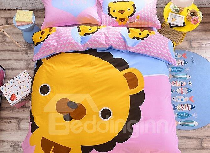 Cartoon Lion Face Pattern Kids Cotton 4-Piece Duvet Cover Sets