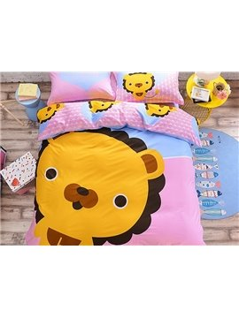 Cartoon Lion Face Pattern Kids Cotton 4-Piece Duvet Cover Sets