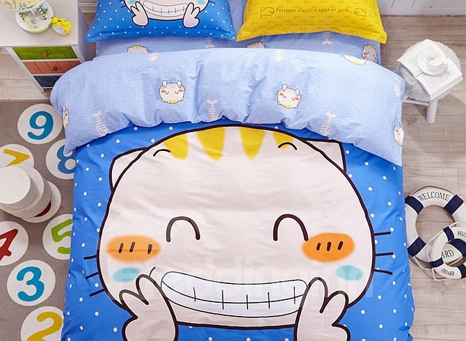 Smile Cat Pattern Kids Cotton 4-Piece Duvet Cover Sets