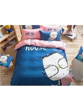 Glasses Boy Pattern Kids Cotton 4-Piece Duvet Cover Sets