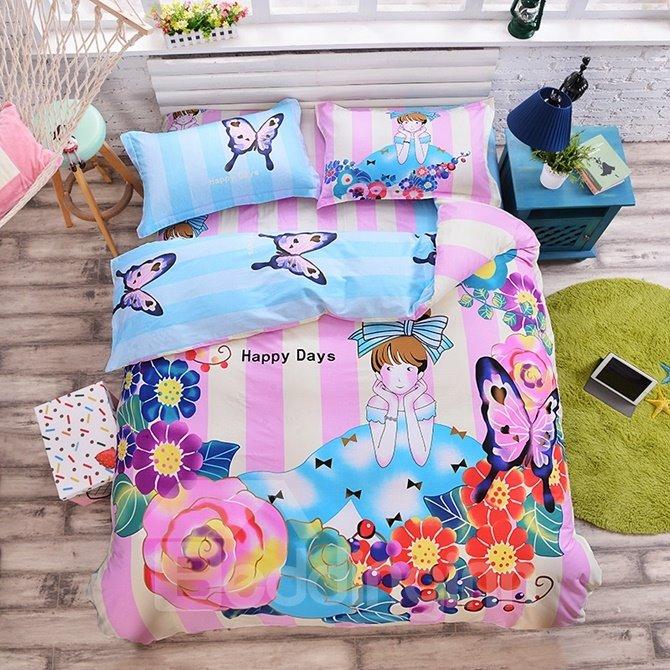 Princess with Flowers Pattern Kids Cotton 4-Piece Duvet Cover Sets