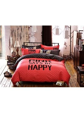 Letters Pattern Kids Cotton 4-Piece Duvet Cover Sets