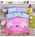 Pink Face Cat Pattern Kids Cotton 4-Piece Duvet Cover Sets