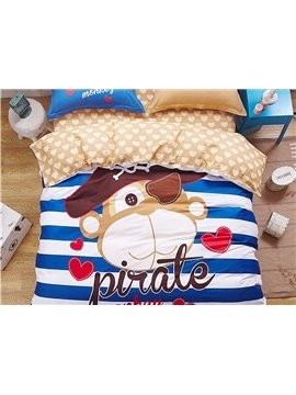 Pirate Monkey Pattern Kids Cotton 4-Piece Duvet Cover Sets