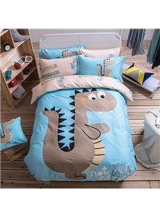 Cartoon Dinosaur Pattern Kids Cotton 4-Piece Duvet Cover Sets