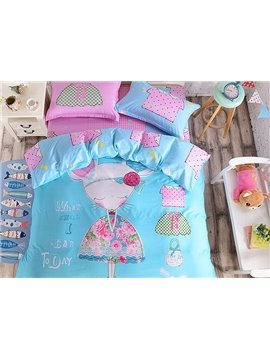 Mouse Lady Pattern Kids Cotton 4-Piece Duvet Cover Sets