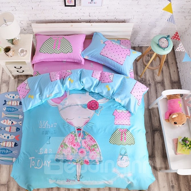 Mouse Lady Pattern Kids Cotton 4-Piece Duvet Cover Sets