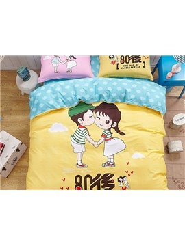 Couple Pattern Yellow Kids Cotton 4-Piece Duvet Cover Sets