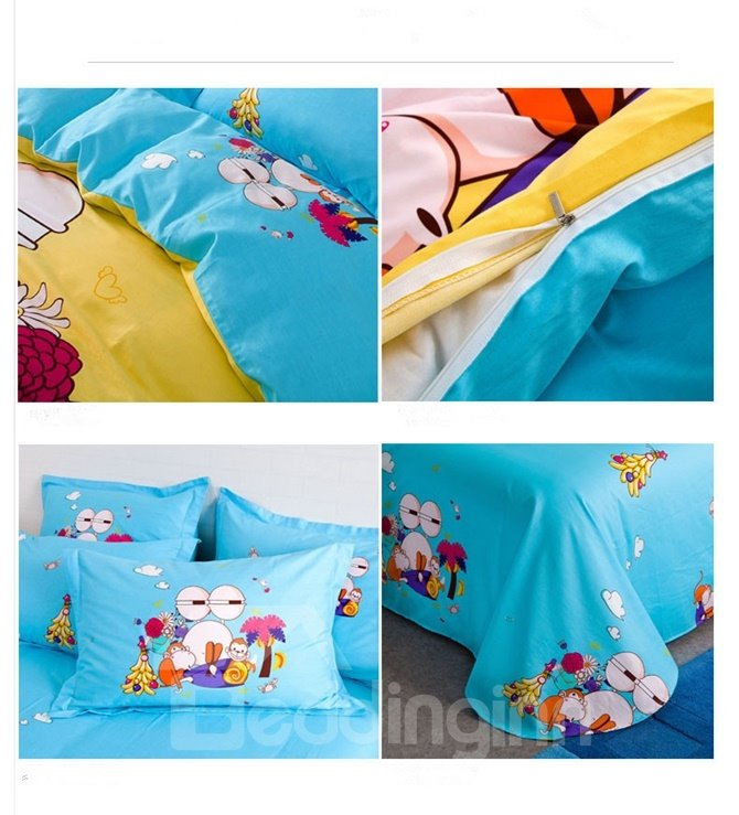 Tropical Forests Pattern Kids Cotton 4-Piece Duvet Cover Sets