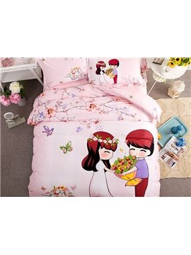 Sweet Couple Pattern Kids Cotton 4-Piece Duvet Cover Sets