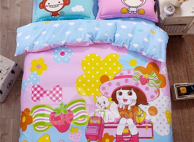 Princess Diary Pattern Kids Cotton 4-Piece Duvet Cover Sets