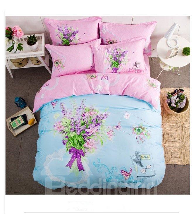 Butterfly Flowers Pattern Light Blue Kids Cotton 4-Piece Duvet Cover Sets