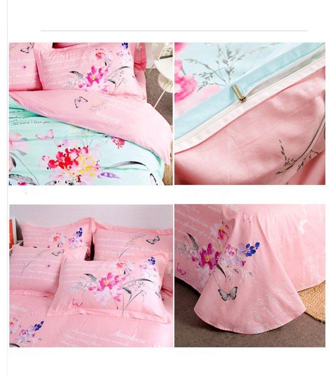 Butterfly Flowers Pattern Mint Green Kids Cotton 4-Piece Duvet Cover Sets