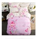 Lovely Butterfly Flowers Pattern Kids Cotton 4-Piece Duvet Cover Sets