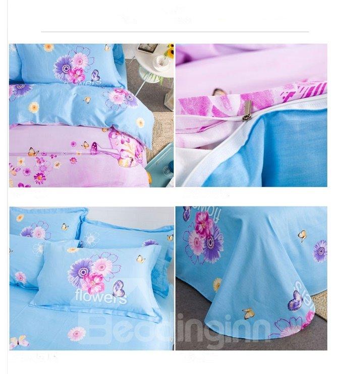 Colorful Butterfly Pattern Kids Cotton 4-Piece Duvet Cover Sets