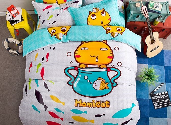 Happy Cats Pattern Kids Cotton 4-Piece Duvet Cover Sets