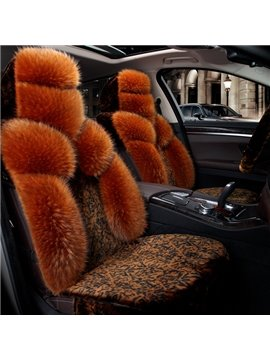Fashion Golden Brown Luxury Floral Style Design Pure Wool Warm Universal Car Seat Cover