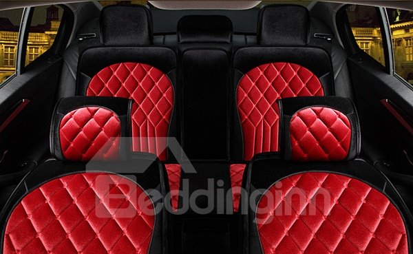 Fashion Contrast Color Design Plush Popular Universal Car Seat Cover