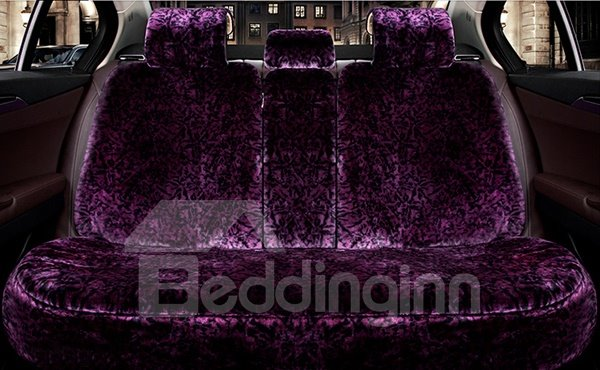 Magic Charming Purple Style With Warm Plush Winter Necessary Universal Car Seat Cover