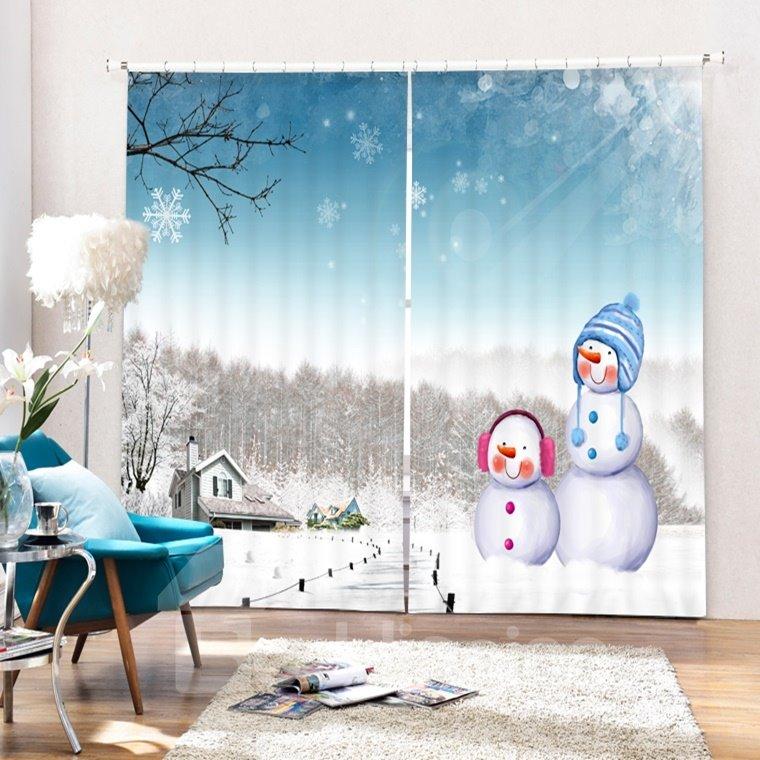 Cute Snowmen in Winter Printing Christmas Theme 3D Curtain