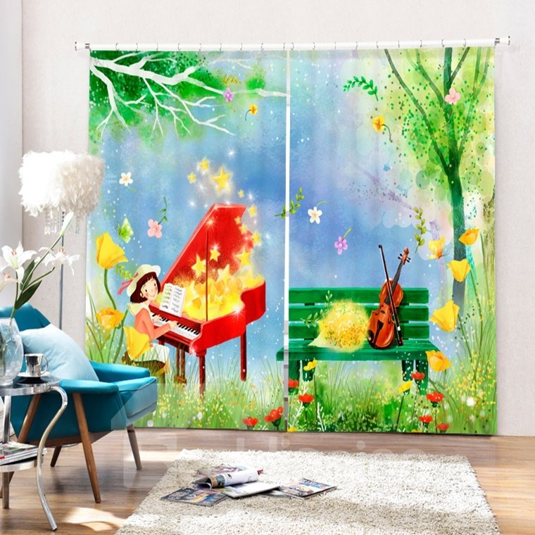 Cartoon Lovely Girl Playing Piano in the Field Printing 3D Curtain