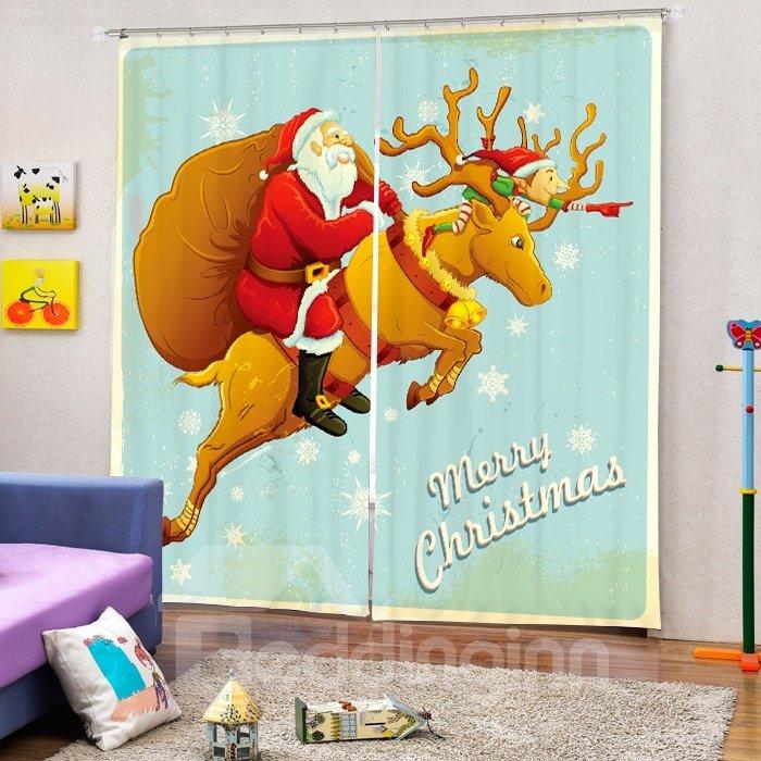 Cool Santa Riding Reindeer Printing Christmas Theme 3D Curtain