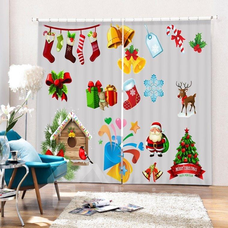 Clip Art Christmas Representation Printing Christmas Theme 3D Curtain