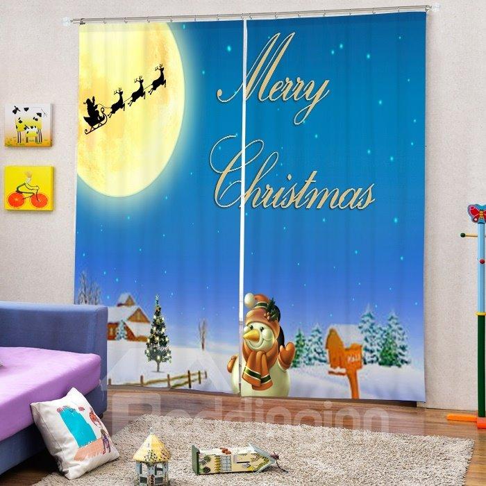 Cute Snowman Waving and Santa Shadow Printing Christmas Theme 3D Curtain