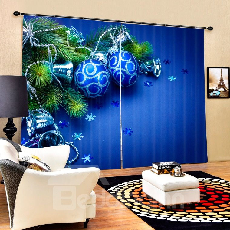Blue Christmas Balls and Bells Printing Christmas Theme 3D Curtain