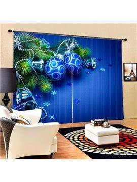 Blue Christmas Balls and Bells Printing Christmas Theme 3D Curtain