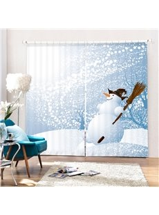 Cartoon Witch Snowman Printing Christmas Theme 3D Curtain