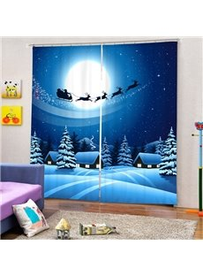 The Shadow of Santa Riding Reindeer Printing Christmas Theme 3D Blue Curtain