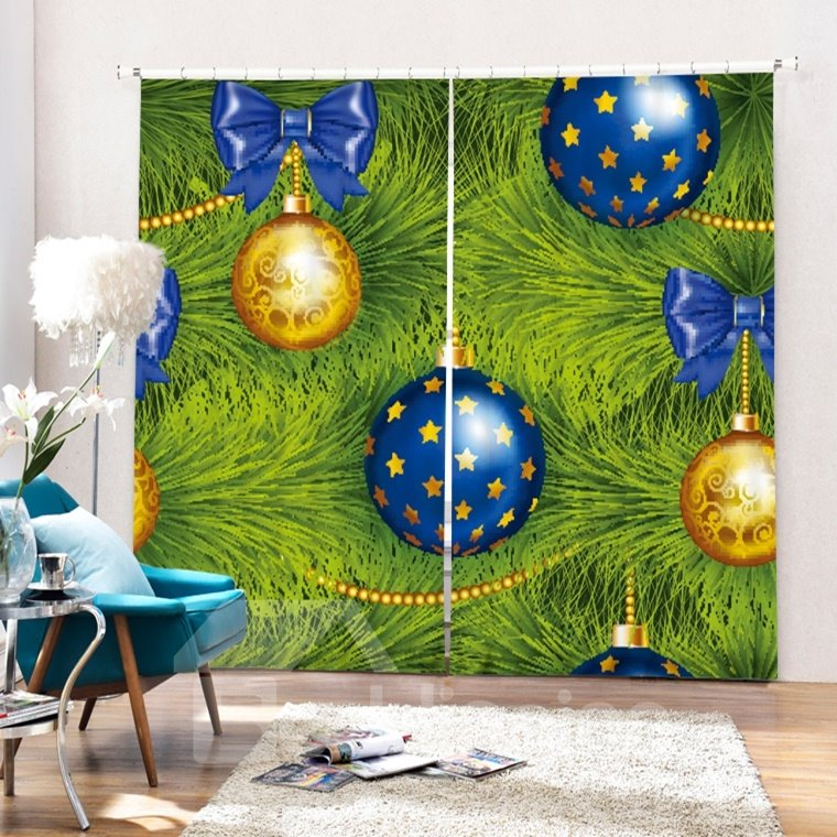 Golden and Blue Christmas Balls on the Tree Printing Christmas Theme 3D Curtain