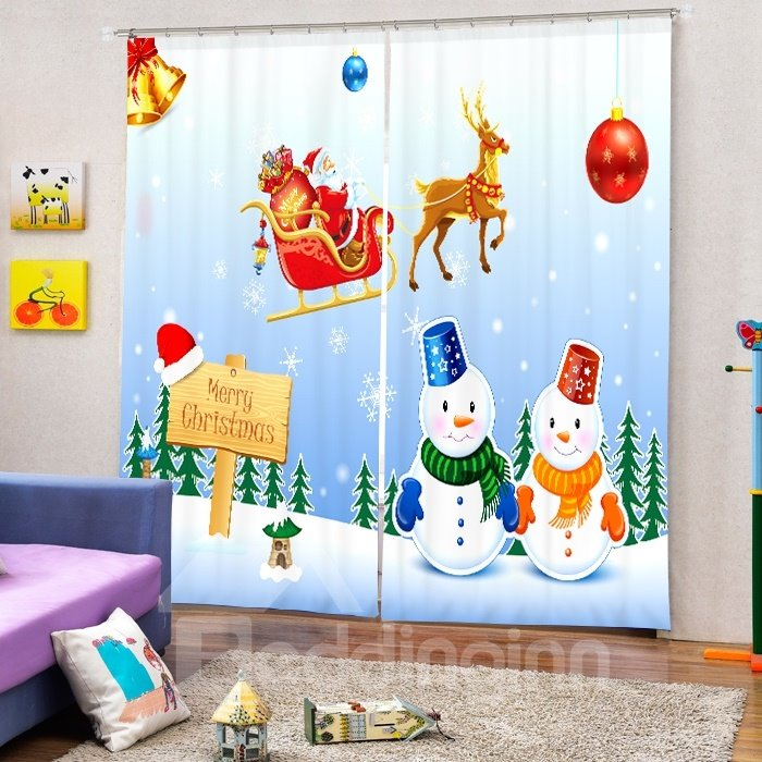 Snowmen Lovers and Santa Riding Reindeer Printing Christmas Theme 3D Curtain