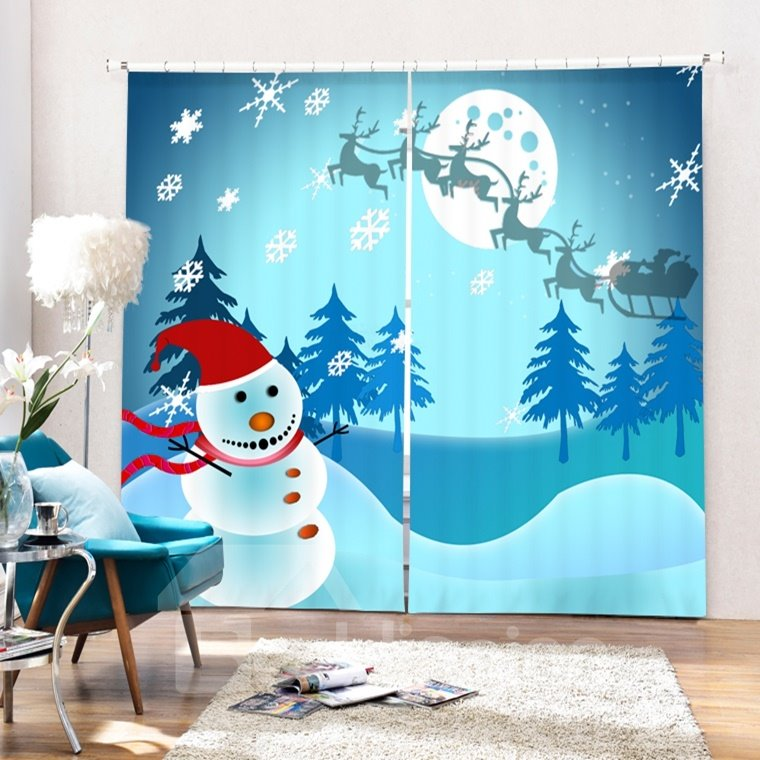 Lovely Cheer Snowman Running Printing Christmas Theme 3D Curtain