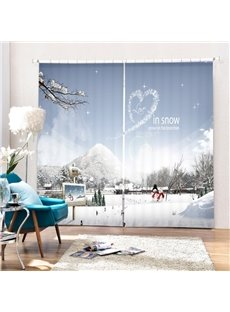 Couple Snowmen Love in Snow Printing Christmas Theme 3D Curtain