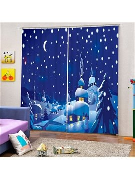 Cartoon Santa Horse Peaceful Winter Night of the  Village Printing Christmas Theme 3D Curtain