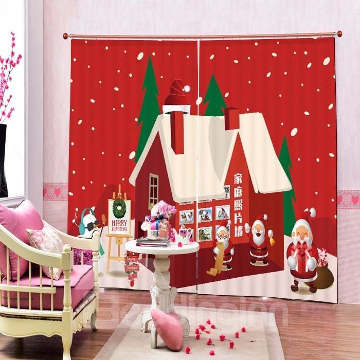Cartoon Santa House Printing Christmas Theme 3D Curtain