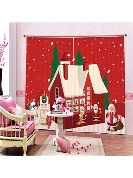 Cartoon Santa Horse Printing Christmas Theme 3D Curtain