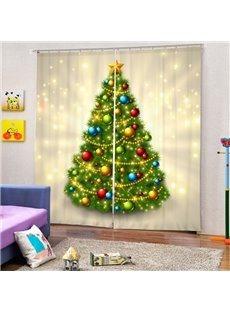 Flaring Christmas Tree with Decors Printing Christmas Theme 3D Curtain