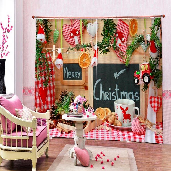 Sweet Christmas Snack Printing Merry Christmas Theme 3D Curtain