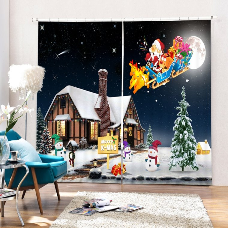 Cartoon Santa Riding Reindeer toward Cabin Printing Christmas Theme 3D Curtain
