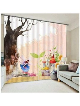 Cartoon Snowman with Long Gift List Printing Christmas Theme 3D Curtain