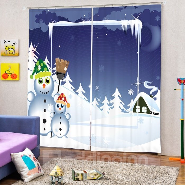 Two Snowmen Playing and Smiling Printing Christmas Theme 3D Curtain