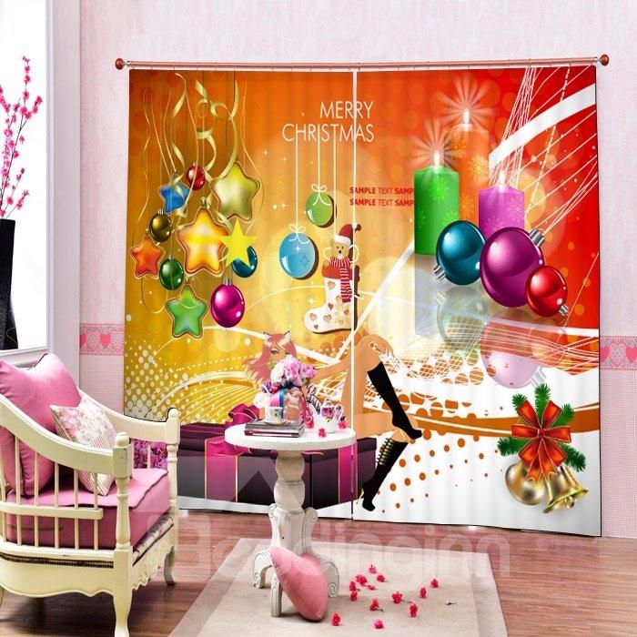 Colored Christmas Balls and Stars Printing Christmas Theme 3D Curtain