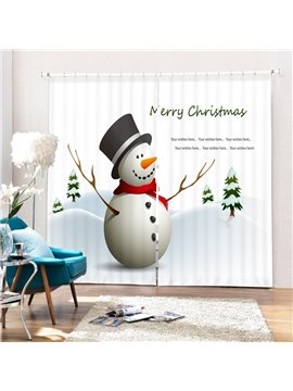 Cute Snowman with Red Scarf and Black Hat Printing Christmas Theme 3D Curtain