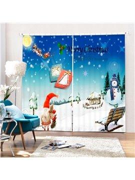 Cute Cartoon Christmas Scenery Printing Christmas Theme 3D Curtain