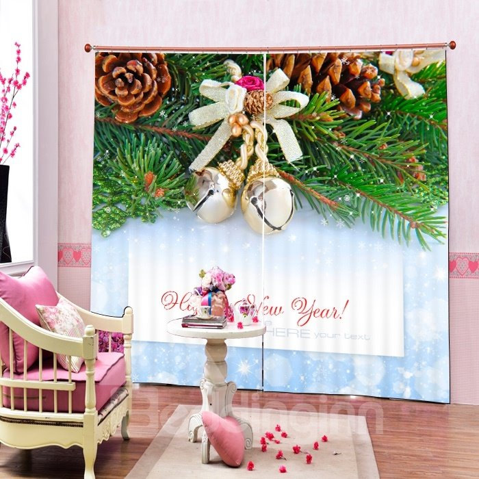 Christmas Bell on the Tree with Pine-cone Printing Christmas Theme 3D Curtain