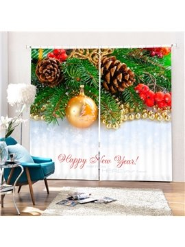 Golden Christmas Balls and Pine-cone Printing Christmas Theme 3D Curtain
