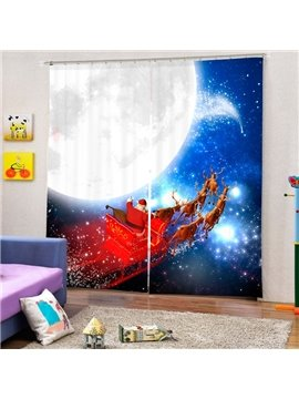 Santa Riding Reindeer by the Noon Printing Christmas Theme 3D Curtain